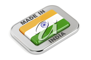 Made in India, shiny badge on white background