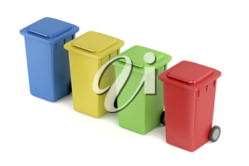 Multicolored plastic recycle bins on white background