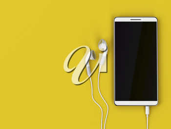 Smartphone with blank display and wired earphones on yellow background, top view