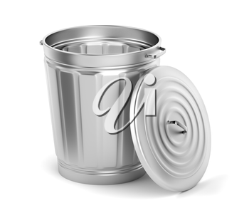 Empty metal bin with lid on white background