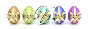 Colorful eggs with golden ribbons, Easter decoration