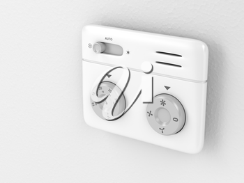 Thermostat on the wall, 3d illustration