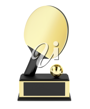 Table tennis trophy on white background