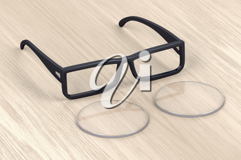 Eyeglasses frame and uncut lens on wood background