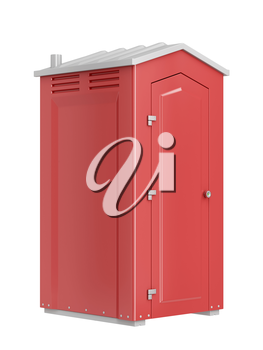Red mobile chemical toilet isolated on white background