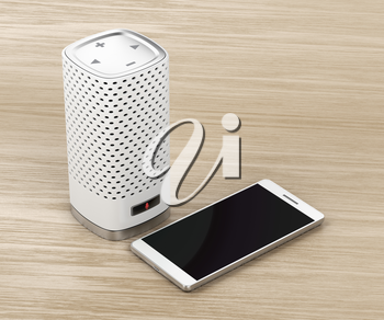 Smart speaker with integrated virtual assistant and smartphone on wood background