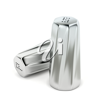 Silver salt and pepper shakers on white background