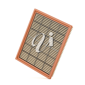 Automotive air filter on white background
