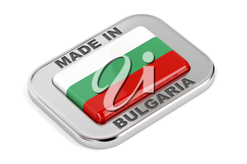 Made in Bulgaria, shiny silver badge with Bulgarian flag inside