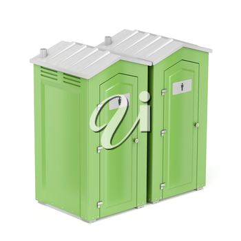 Green portable chemical toilets for males and females on white background