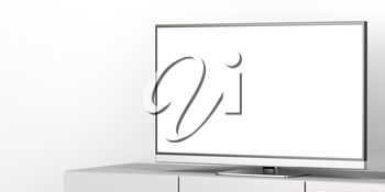 Large flat screen tv with blank screen on tv stand, close up