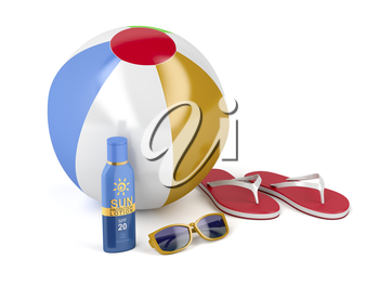 Beach ball, flip-flops, sunscreen lotion and sunglasses on white background
