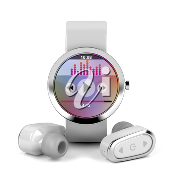 White wireless earphones and smart watch, 3D illustration