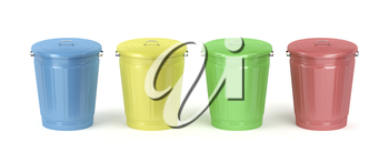 Metal trash cans with different colors on white background