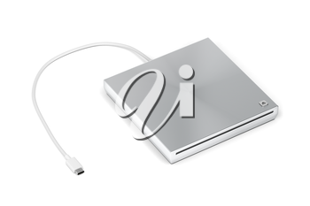 Portable optical disc drive on white background