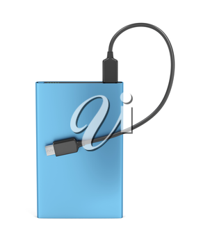 Power bank with usb-c cable on white background