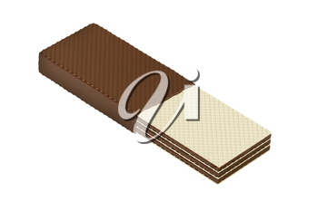 Half covered wafer with chocolate, isolated on white background