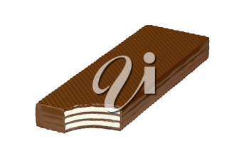 Bitten chocolate wafer, isolated on white background