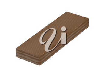 Chocolate covered wafer, isolated on white background