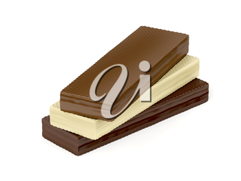Wafers with different chocolate on white background