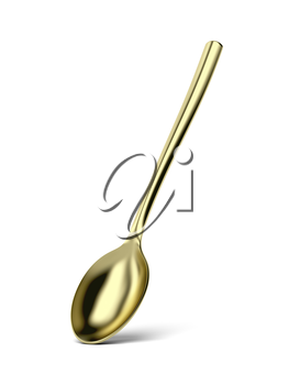 Golden spoon isolated on white background