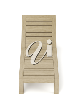 Front view of empty wooden sun lounger on white background