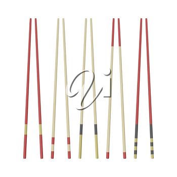 Collection of different wooden chopsticks, isolated on white background