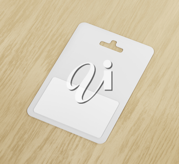 White blank gift card on wood background