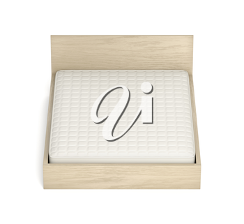 Wooden bed with comfortable mattress on white background