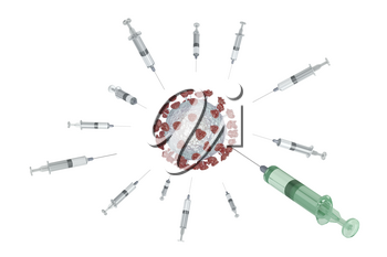 Concept image with vaccines against the virus, one successful