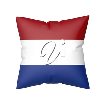 Pillow with the flag of the Netherlands, isolated on white background