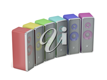 Computer speakers with different colors on white background