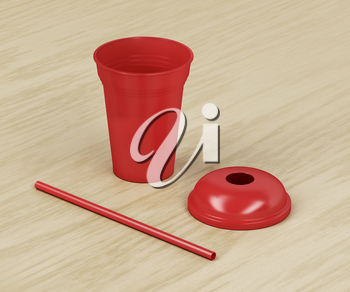 Red disposable plastic cup for cold drinks with a straw on wood background