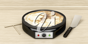 Making a pancake with electric pan in the kitchen
