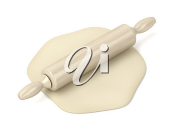 Raw dough and rolling pin on white background