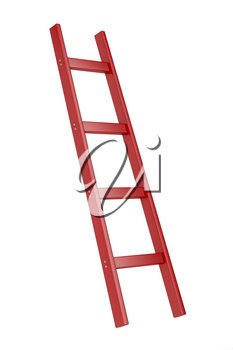 Red wooden ladder isolated on white background
