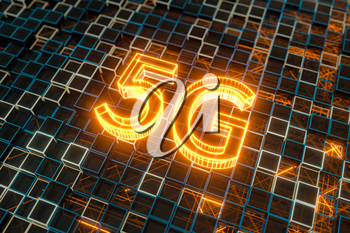 Font 5G with sci-fi square background, 3d rendering. Computer digital drawing.