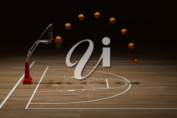 Basketball court with wooden floor, 3d rendering. Computer digital drawing.