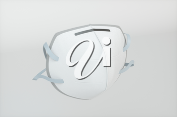 Medical mask with white background,3d rendering. Computer digital drawing.