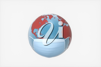 Earth and mask with white background, 3d rendering. Computer digital drawing.