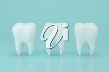 White tooth with blue background, 3d rendering. Computer digital drawing.