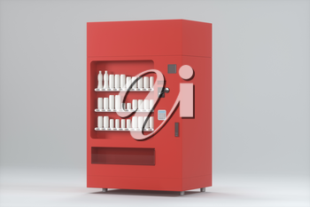 The red model of vending machine with white background, 3d rendering. Computer digital drawing.