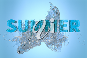 3D font of SUMMER with water pouring down, 3d rendering. Computer digital drawing.
