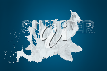 3D font of SUMMER with white liquid pouring down, 3d rendering. Computer digital drawing.