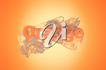 3D font of orange with water pouring down, 3d rendering. Computer digital drawing.