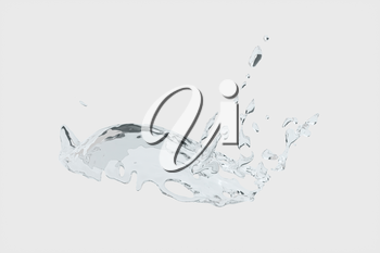 Splashing water with white background, 3d rendering.