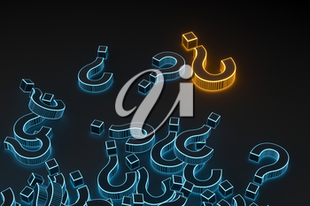 Glowing question marks with dark background, 3d rendering. Computer digital drawing.