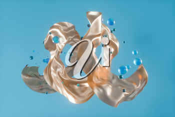 Flowing silk and glass beads with light background,3d rendering. Computer digital drawing.