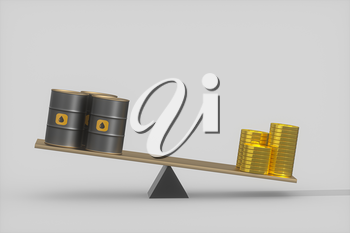 Oil barrel and dollar with white background,3d rendering. Computer digital drawing.