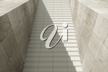 Steps and wall with grey background, modern construction,3d rendering. Computer digital drawing.